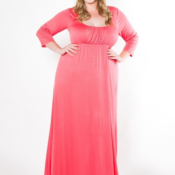 Plus Size coral pink maxi Dress NWT